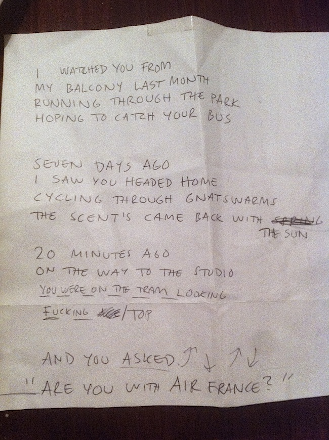 Hand-written lyrics to the final Air France single 'It Feels Good To Be Around You'