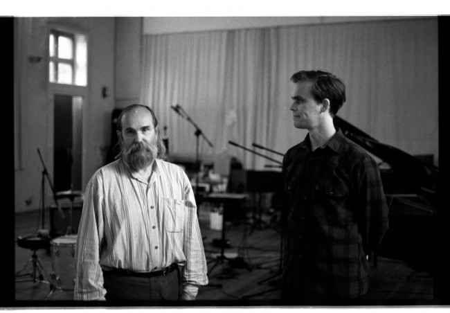 Lubomyr Melnyk & Peter Broderick recording in Berlin-photo by Martyn Heyne