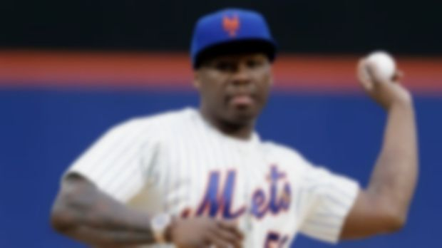 Watch 50 Cent throw the first pitch at Mets baseball game and miss terribly