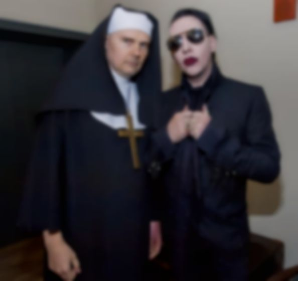 Billy Corgan dresses as a nun to cover Cyndi Lauper with Marilyn Manson