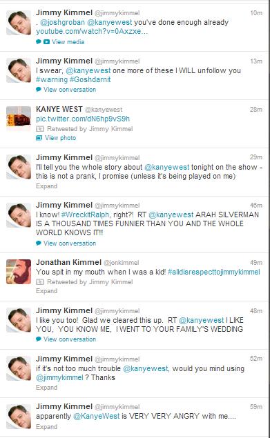 Kanye West goes on Twitter rant following Jimmy Kimmel skit